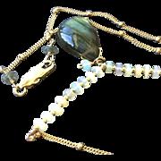 Labradorite Opal Necklace, Gold fill pendant, Camp Sundance, Gem Bliss