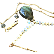 Labradorite Opal Necklace, Gold fill pendant, Camp Sundance, Gem Bliss
