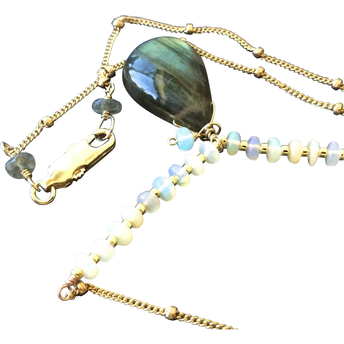 Labradorite Opal Necklace Gold Fill Pendant Camp