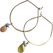 Welo Opal blue Diamonds Hoop Earrings, Camp Sundance Gem Bliss