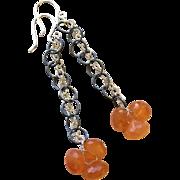 Orange Chalcedony Sterling Drop Earrings by Gem Bliss