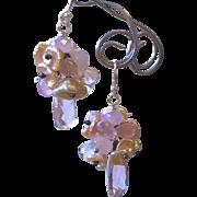 Pink Pearl Earrings, Bridal Chandeliers, Silver Earrings, Camp Sundance, Gem Bliss,