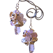 Pink Pearl Earrings, Bridal Chandeliers, Silver Earrings, Camp Sundance, Gem Bliss,