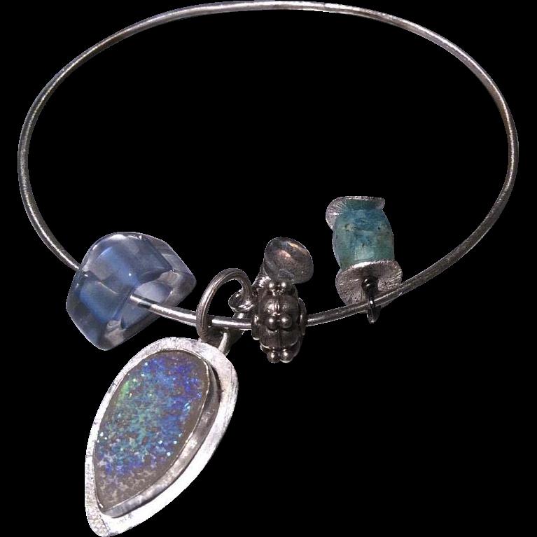Amazonite, Drusy Bracelet, Silver Bracelet, Charms Bracelet, Labradorite, Silver bangle Gem Bliss