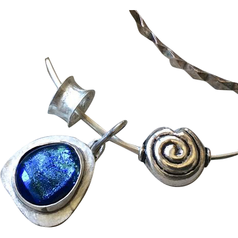 Blue Dichroic Glass Bracelet, Silver Bracelet, Charms Bracelet, charms bangle, Silver bangle Gem Bliss