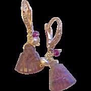 Tourmaline Earrings, Rose Gold Earrings, sparkling lever backs Gem Bliss, Camp Sundance