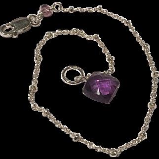 Dainty Silver Bracelet, Amethyst Bracelet, charm bracelet, Bridal, Gem Bliss
