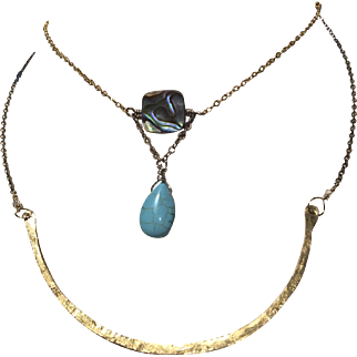 Bronze Silver 2 strand layering necklace, Turquoise, Abalone, mixed metals Gem Bliss