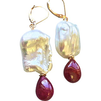 Ruby Baroque Pearl drops, Solid Rose Gold earrings, Natural royal Ruby and Pearl earrings, Gem Bliss