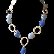 Bold Blue Chalcedony Sterling Silver OOAK Necklace Gem Bliss