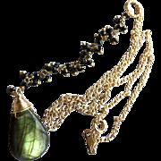 Labradorite Necklace, Black Spinel Y Necklace, Labradorite pendant necklace, Green Lariat Necklace