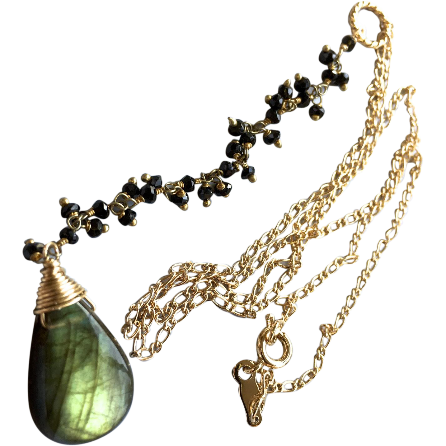 Labradorite Necklace, Black Spinel Y Necklace, Labradorite pendant necklace, Green Lariat Necklace