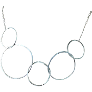 Modern Silver Choker, Circles Necklace Silver Circle Links Necklace Silver Necklace