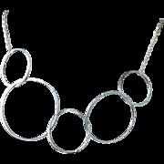 Modern Silver Choker, Circles Necklace Silver Circle Links Necklace Silver Necklace