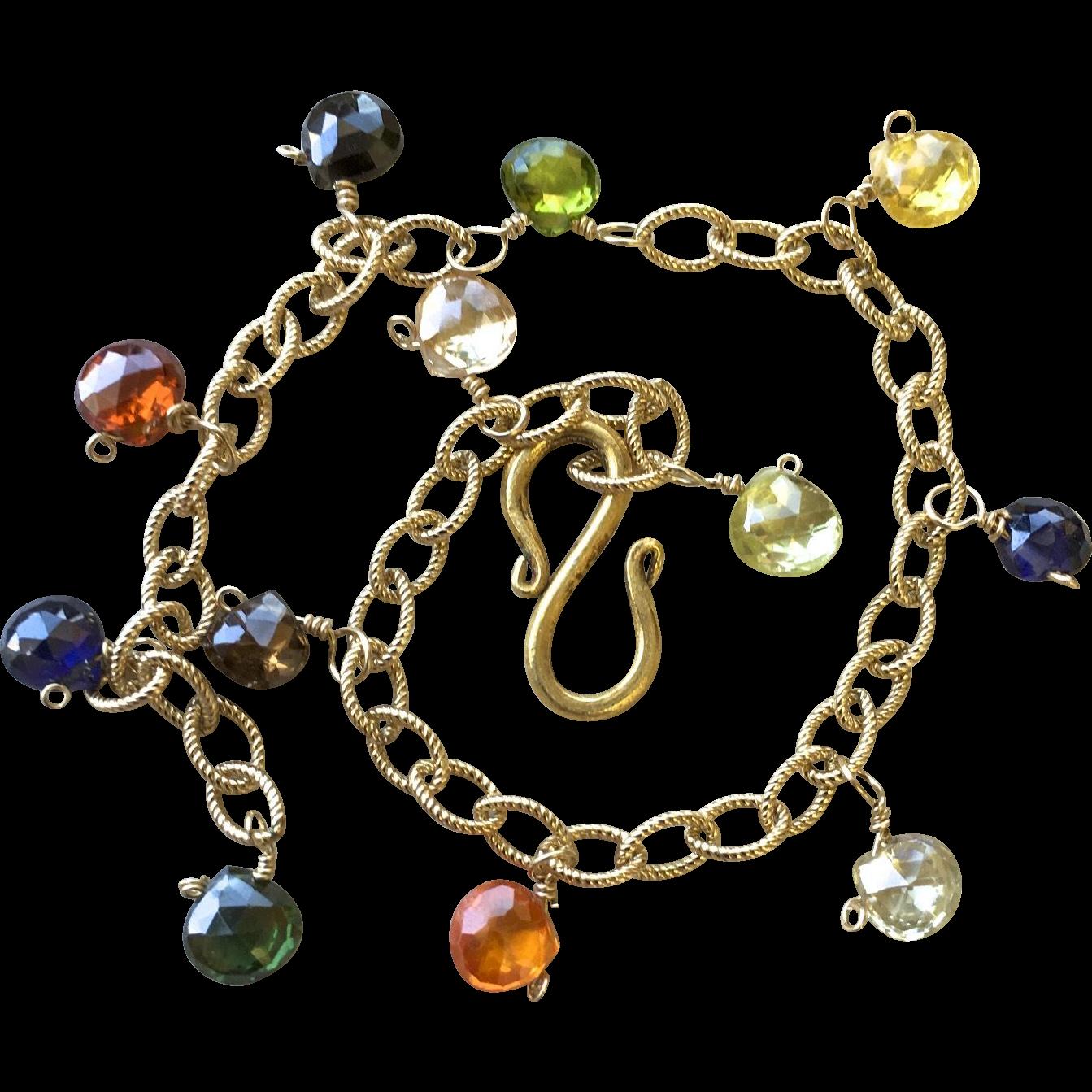rainbow charm bracelet 14k gold filled cz charms c