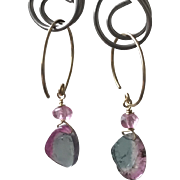 Tourmaline Slice Hoops, Watermelon Tourmaline earrings, Petite Tourmaline earrings