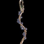 Blue Twig Earrings, Tanzanite Blue CZ Earrings, Copper Twig Earrings,