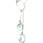 Silver Pearls Lariat, Modern MInimalist Baroque Freshwater Cultured Pearl long Lariat Necklace
