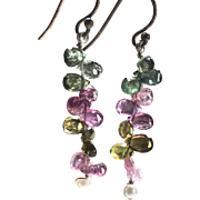 Rainbow Tourmaline Drop Earrings, Silver Tourmaline Earrings, candy colors gem charms Sterling Silver