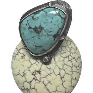 Silver Turquoise Ring, chunky statement, handmade Sterling Silver, rustic double band Size 5.5 by Gem Bliss