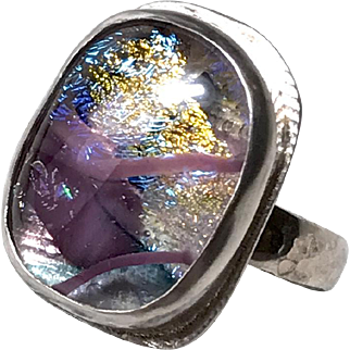 Rose pink gold dichroic glass, bezel set, Silver ring, OOAK, US size 9 by Gem Bliss
