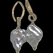 Genuine Baroque freshwater Pearl 22K Vermeil hammered Earrings