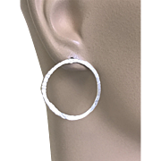 Modern Silver Hoop earrings, Post Earrings, Hammered hoops, minimalist simple, classic, earrings