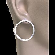 Modern Silver Hoop earrings, Post Earrings, Hammered hoops, minimalist simple, classic, earrings
