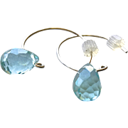 Blue water droplet Silver Hoop Earrings