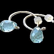 Blue water droplet Silver Hoop Earrings