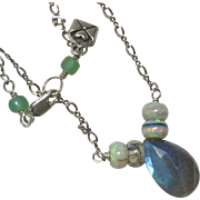 Labradorite and Opal Silver necklace