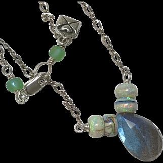 Labradorite and Opal Silver necklace