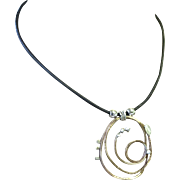 Bronze Rustic Spiral on black Leather cord Necklace