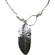 Sterling Silver Leaf Pearl Lariat Necklace