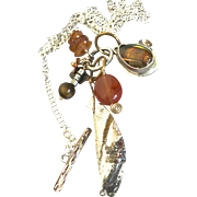 Mixed Metals gem charms cascade Silver Necklace