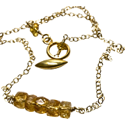 Golden Citrine 5 barrel Bar Necklace