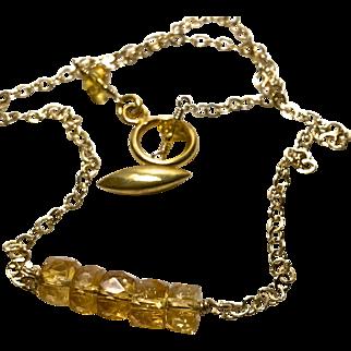 Golden Citrine 5 barrel Bar Necklace