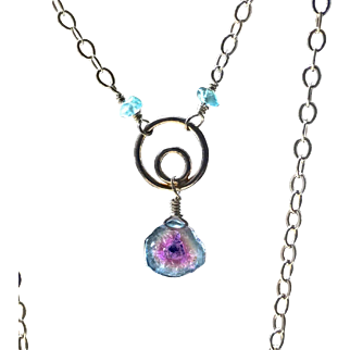 Watermelon Tourmaline Pink and Blue Tourmaline Sterling Silver Circle Pendant with Apatite Necklace