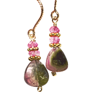 Topaz and Watermelon Tourmaline Slice drop earrings, Pink and Green Gold filled Tourmaline Earrings
