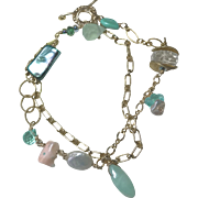 Amazonite, Abalone, Coral Beach boho charm Bracelet