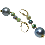 Tahitian Pearls earrings Sterling Opal earrings Gold filled earrings South Sea Pearls Black Pearls Gem Bliss