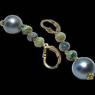 Tahitian Pearls earrings Sterling Opal earrings Gold filled earrings South Sea Pearls Black Pearls Gem Bliss