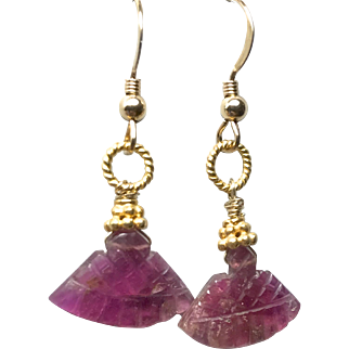 Carved Rubellite Tourmaline Gold filled Earrings