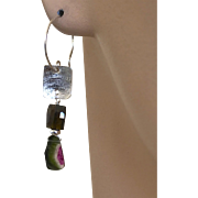 Watermelon Tourmaline Slice Black Tourmaline Silver Earrings