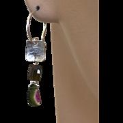 Tourmaline Silver Earrings Watermelon Tourmaline Slice Black Tourmaline Silver Designer Originals Earrings