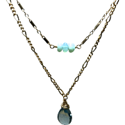 London Blue Topaz Necklace Peruvian Opal Necklace, two strand necklace, Blue necklace, layering, Gold filled Bridal, November birthstone