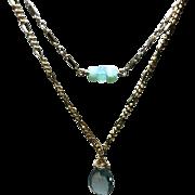 London Blue Topaz Necklace Peruvian Opal Necklace, two strand necklace, Blue necklace, layering, Gold filled Bridal, November birthstone