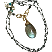 Labradorite Silver Necklace Solitaire Mixed Metals Camp Gem Bliss