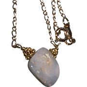 Boulder Opal Solitaire Necklace Gold filled Opal Necklace October Birthstone, red fire