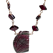 Carved Watermelon Tourmaline Gem Slice Rose Gold filled Red Garnets Necklace, October Birthstone, large Gem Slice